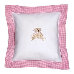 Jacaranda Living - Pink Bow Teddy Baby Pillow - Trimmed in pink gingham with a satin-stitch border, this classic cotton baby pillow cover is sweet and cozy. Embroidered with an inviting teddy bear, adorned with a pink bow, this pillow is the perfect place for your baby to lay her little head.