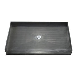 """Tile Redi - Tile Redi 4066CBF-PVC 40"""" D x 66"""" W Curbless Shower Pan with Center PVC Drain - 40"""" Depth x 66"""" Width Curbless Tile Redi Shower Pan with Center PVC Drain. Barrier free entrance on the 66"""" W front side. Depth measured from the front of the entrance to the outside of the back splash wall. The shower pan includes a round adjustable polished chrome (stainless) drain plate, and Redi Poxy Epoxy Tile Setting Adhesive to tile the surface of the shower pan. The Redi Base is fabricated as a one-piece, leak proof shower pan - and comes pre-pitched for perfect water drainage. Shower pans are made out of a rugged polyurethane with ribs underneath for added strength. Each shower pan is tile ready, meaning you can set tile directly on the surface of the shower pan with no additional waterproofing. Tile Redi Shower Pans are easy to install whether you are a contractor or do-it-yourselfer, and a 1/8"""" Trowel can be used during installation depending on the tile, marble, or stone being used. In addition, all Tile Redi shower pans comply with all national and local plumbing codes and are UL listed."""