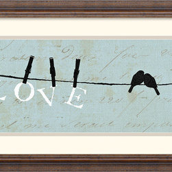 Amanti Art - Birds on a Wire Love Framed Print by Alain Pelletier - \'Love\' - Have you dcor declare what is really important to you with this charming play of clothes line silhouettes by artist Alain Pelletier.