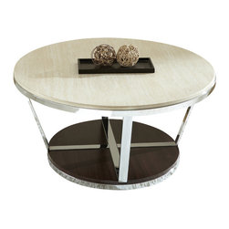 """Steve Silver Furniture - Steve Silver Bosco 3-Piece Faux Marble Coffee Table Set with Espresso Base - Chrome, faux marble and wood combine for the Bosco Collection, for a contemporary retro-Modern style. The Bosco cocktail table stands 18"""" high, with a 36"""" round top, a chrome frame and a dark wood bottom. This eye-catching-Piece complements the Bosco End table and sofa tables."""