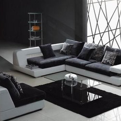 Vio Two-Toned Sectional Sofa Set E1376 - This unique sectional set features an Italian leather frame combined with fabric seats.