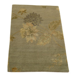 1800-Get-A-Rug - Modern Wool and Silk Floral Design Hand Knotted Rug Sh12270 - About Modern & Contemporary