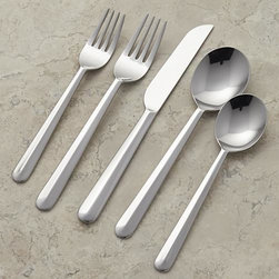 Lauf 5-Piece Placesetting. - Modern tabletop fashion, designed exclusively for us by Anna Lisa Sigmarsdottir. Sculptural, mirror-polished stainless-steel pieces feature fresh curves and intriguing handles with a smooth beveled ridge running full length to the rounded tips.