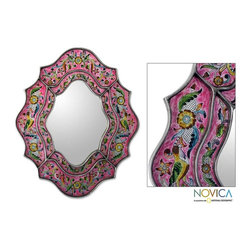 Glass 'Wild Orchids' Mirror - Replacing a standard mirror is one of the easiest changes you can make in the bathroom.