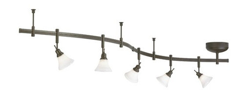 Tech Lighting - Five-Light Rail Kit with White Glass - 800RAL5CWZ - Combining white seeded glass with a traditional bronze finish, this rail kit will blend nicely with existing decor. It is easy to install and comes complete with everything you need. Each rail section is bendable, allowing you to reach out from your electrical junction box in any direction. The fixture heads may be placed anywhere on the rail and pivot vertically and horizontally. Each kit includes five fixture heads with white seeded glass, five 20-watt MR16 bulbs, three 36-inch bendable rail sections, one power feed with integrated 12 volt transformer, two rail connectors, two end caps and three 3-inch rigid standoffs. May be dimmed with a standard incandescent dimmer. Takes (5) 20-watt halogen MR-16 bulb(s). Bulb(s) sold separately. Dry location rated.
