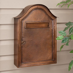 Large Hammered Copper Locking Wall-Mount Mailbox - Antique Copper - Security and rustic charm work hand-in-hand with this Locking Copper Wall-Mount Mailbox, featuring a large incoming mail slot and spacious interior. Its impressive size and hammered Antique Copper finish are sure to make this piece an eye-catching addition to the front of your home.