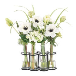 Silver Nest - Bottled Tulips Centerpiece- 17x21 - White and Green Anemone Tulip Centerpiece in Glass Bottles