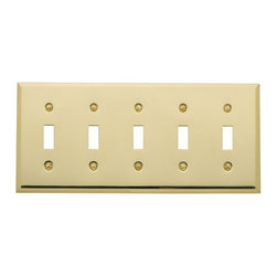 Baldwin Hardware - Beveled Edge 5 Toggle Wall Plate in Polished Brass (4775.030.CD) - Feel the difference � Baldwin hardware is solid throughout, with a 60 year legacy of superior style and quality. Baldwin is the choice for an elegant and secure presence. Baldwin guarantees the beauty of our finishes and the performance of our craftsmanship for as long as you own your home.