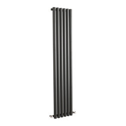 Hudson Reed - Savy Anthracite Vertical Designer Radiator Heater 63 x 14 With Valves - Six circular vertical tubes, finished in superior anthracite powder coat, make this radiator a striking design feature of any contemporary living space. The large diameter tubes deliver an amazing heat output of 1680 Watts (5734 BTUs).Stylish and effective, this modern classic connects directly into your domestic central heating system by means of the radiator valves included . Anthracite Vertical Tube Designer Radiator 63 x 14 Features  Dimensions (H x W x D): 63 x 14 x 3.25 Output: 1680 Watts (5734 BTUs) Maximum Projection from Wall: 5.25 Pipe centres with valves: 17.3 Number of columns: 6 Circular columns Fixing Pack Included (see image above) Designed to be plumbed into your central heating system Suitable for bathroom, cloakroom, kitchen etc. Weight: 43.65 lbs (19.8kg) Please note: angled radiator valves included  Please Note: Our radiators are designed for forced circulation closed loop systems only. They are not compatible with open loop, gravity hot water or steam systems.