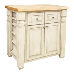 "French White Island with Two Drawers/One Cabinet - This island features two drawers and a cabinet on one side and three open shelves on each end for additional storage. Drawers feature full extension soft-close slides.  Coordinating decorative hardware is included.  Maple grain butcher block top is 1 3/4"" thick."