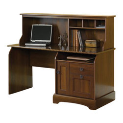 Sauder - Sauder Graham Ridge Computer Desk with Hutch in Euro Oak - Sauder - Computer Desks - 409923 - Sure, lots of office and home furnishing manufacturers can help you create an organized, comfortable and fashionable place to live. But Sauder provides a special kind of furniture that is practical and affordable, as well as attractive and enduring. As North America's leading producer of ready-to-assemble furniture, we offer more than 500 items that have won national design awards and generated thousands of letters of gratitude from satisfied consumers.