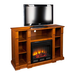 """Southern Enterprises Inc - Southern Enterprises Inc Media Electric Fireplace Glazed Pine X-7839EF - This tasteful media fireplace is as attractive as it is convenient. The earthy, glazed pine finish, handsome carved columns, and open design make this electric fireplace the perfect media solution. This statuesque fireplace features three open shelves for electronic components and game consoles. Two additional open shelves on each side provide storage for movies, games, and books or can be used to display your favorite treasures. Sections are split by gorgeous, carved columns with classic, squared bases. The center section extends an inch beyond the side sections giving the fireplace both focus and depth. The firebox has realistic, multicolor flickering flames and glowing embers with an interior brick design for a more lifelike look. This transitional fireplace is ideal for the living room and bedroom, and even adds a warm, romantic touch to the home office. This electric fireplace features energy efficient LED and requires no professional installation, making it a cost effective way to upgrade your living or media room. Easy to use remote control offers 4-way adjustability to warm the room conveniently. Safety features include automatic shutoff and glass that remains cool to the touch. Turn off the heat to enjoy the fireplace ambience year round! - FEATURES: - Accommodates a flat panel TV up to 50"""" W overall - Includes 2 adjustable shelves and 5 fixed shelves - Offers 3 cord management openings - Glazed pine finish - PRODUCT SPECIFICATIONS: - Media shelf: 27.5"""" W x 16"""" D x 9"""" H (23.5"""" W opening) - Top shelves: 10"""" W x 14"""" D x 9"""" H - Middle shelves: 10"""" W x 14"""" D x 10"""" H (adjust 2"""" up/down) - Bottom shelves: 10"""" W x 14"""" D x 8""""/10""""/12"""" H - Approx. weight: 136.5 lb. - Supports up to: 75 lb. (mantel), 20 lb. (media shelf), 15 lb. (per shelf) - Materials: pine, MDF, particle board, pine veneer, metal, glass, resin - Assembly required - Overall: 52"""" W x 18"""" D x 34.5"""" H - F"""