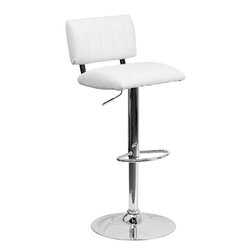 Flash Furniture - Flash Furniture Contemporary White Vinyl Adjustable Height Bar Stool - This designer chair will make an attractive statement in the home. The height adjustable swivel seat adjusts from counter to bar height with the handle located below the seat. The base and footrest have a chrome finish to complement the chair's modern design. [CH-122150-WH-GG]