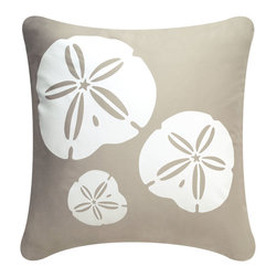 Sand Dollar Modern Eco Coastal Throw Pillows, Shell White/Seagrass - Decorative throw pillows hand printed with a trio of sand dollars exemplify beach decor. The modern design Sand Dollar pillow in colors reminiscent of the ocean is an exquisite accent for coastal living. Designed, hand printed, and fabricated in America.