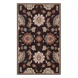 Surya - Hand Tufted Kingston Rug KGT-2001 - 5' x 8' - The styling of the Kingston collection is undoubtedly eclectic, incorporating the latest fashion colors of modern interiors with the classic lines of today's fabrics and accents. Set against a solid background the curving florals appear to dance across the rug. These painstakingly hand tufted beauties can be called colorfully neutral, and will compliment any space where traditional meets modern. Made in China from 1% polyester.