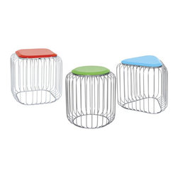 Seasonal Living Array Stools and Side Table - These stools are simply fun. They have a great open design and come in multiple colors and shapes. Mix them up for a cool effect.