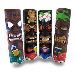 Zeckos - Set of 4 Cocktail Tiki Masks Hand Carved Wood Partying Tikis - This fun assorted set of 4 hanging tiki masks is an essential addition to any tiki bar, outdoor oasis or island themed reception or party They are hand crafted from wood, and each measure approximately 19 inches tall (48 cm) and 5.5 inches wide (14 cm) with attached hangers on the back. Each tiki is hand painted with bold, cheerful colors, and hold a variety of adult beverages. This set would make an amazing housewarming gift, and this group of partying tikis is sure to liven up your party, porch, or patio, and is sure to keep the good times rolling NOTE: Because these masks are handcrafted, they may differ slightly than the ones pictured.