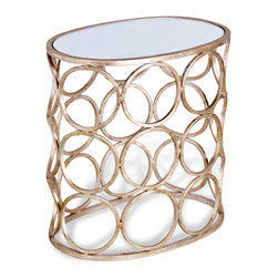 Kathy Kuo Home - Brigit Modern Antique Silver Leaf Champagne Finish Circle Side Table - Modern and elegant, this side table fits into any contemporary to traditional home