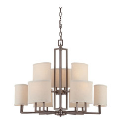 Nuvo Lighting - Gemini Nine Light Chandelier With Khaki Fabric Shades In Hazel Bronze Finish - Gemini - 9 Light Chandelier w/ Khaki Fabric Shades
