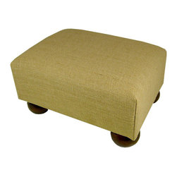 Lava - Burlap Footstool - Upholstered footstool with wooden bun feet and polyurethane foam fill. Measures 15 x 12 x 7. Spot clean only. Handcrafted in USA.