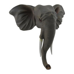 Zeckos - African Elephant Head Wall Mounted Sculptured Statue - This striking sculpture lends an exotic 3D touch to your wall and the room with its hand-painted life like finish and realistic details that pays tribute this these powerful animals. Expertly cast in resin, this 11.5 inch high, 12 inch wide (29 X 30 X cm) wall mount statue extends from the wall 5.5 inches (14 cm), and its trunk could double as a hook for hanging a purse, bag or jacket in an entryway or a towel or robe in the bath. It easily mounts to the wall using the attached keyhole hangers on the back, and it makes an amazing gift for an elephant enthusiast or nature lover sure to be admired