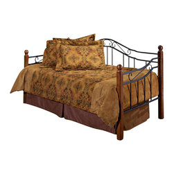 Hillsdale Furniture - Madison Daybed in Black & Cherry Finish w Twi - Black finished metal grills paired with cherry finished wooden posts provide an attractive daybed design. The grills feature twisted wire spindles, and include subtle scrollwork. The posts are located on each corner of the bed, and feature round wooden finials set atop each one. The design is charming and graceful. * Includes side and back panels, posts and suspension deck. Mattress and bedding not included. Black finished metal grills paired with Cherry finished wooden posts. Round wooden finials set atop each one. Black finish metal grills. Cherry finish solid wood posts. Round twisted wire spindles. 14 inches between floor and bottom of bed. Side: 2.75 in. D x 35 in. H. Back: 82 in. L x 42.25 in. H. 83 in. W x 41 in. D x 41 in. HPopular combination of wood and iron elements makes this a great design. Square solid wood posts are combined with Black metal grills that feature round twisted wire spindles.