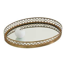 Asher Oval Iron/Mirror Tray - A delicate rail of bronze-hued piecework surrounds the Asher Oval Tray in a motif that mingles lace-like fineness with architectural impact. This pattern, a pared-down version of a traditional arabesque made lusciously simple for the transitional home, is beautifully reflected by the tray's mirrored surface, as are the contents you choose to style this exquisite tray to your liking.