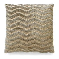 Zig Zag Plush Pillow - Travertine - A pillow need not be predictable. The Zig Zag Plush Pillow features a charming zigzag pattern accentuated by a rich travertine color in a neutral tone that allows for ease in blending with color palettes either vibrant or understated. Ideally sized for placement upon an occasional chair in a sitting area, a cozy sofa by a fireplace, or a bench in a welcoming foyer.