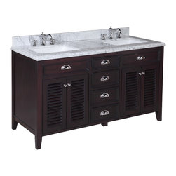 Kitchen Bath Collection - Savannah 60-in Double Sink Bath Vanity (Carrara/Chocolate) - This bathroom vanity set by Kitchen Bath Collection includes a chocolate colored cabinet with soft close drawers, stunning Carrara marble countertop with double-thick beveled edges, self-closing doors, double undermount ceramic sinks, pop-up drains, and P-traps. Order now and we will include the pictured three-hole faucets and a matching backsplash as a free gift! All vanities come fully assembled by the manufacturer, with countertop & sink pre-installed.