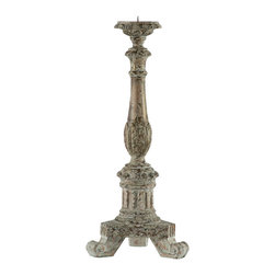 Kathy Kuo Home - Pair Paris Flea Market Parisian Gray Wash Taper Candleholder - Product is hand carved and hand finished topped with a rusted metal drip plate. Drip plate can be removed.  Price marked is for a pair.