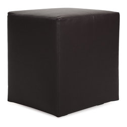 Howard Elliott - Avanti Black Universal Cube Ottoman - Avanti Cubes are the perfect blend of downtown style and uptown sophistication. This luxurious faux leather fabric will entice your fashion senses with its supple leather look and feel. The simple design of the Avanti Cubes makes them great to use as side tables, ottomans, alternate seating and more.