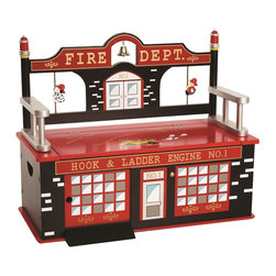 Levels of Discovery - Firefighter Bench Seat with Storage - Unique firehouse design with hydrant finials, working bell and ladder design arms Slow-closing metal safety hinge Tiny firefighter and trusty Dalmatian pup slide up and down the two fire poles Large sliding door opens so fire trucks and other vehicles can drive right up the ramp and into the fire stationWorking bell. Ladder design arms. Sliding door. Slow-closing metal safety hinge. All products have instructions included for assembly