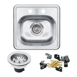 GOLDEN VANTAGE - GV 15-Inch Stainless Steel Kitchen Sink Single Bowl Top Mount W/Strainer - Our affordable stainless steel kitchen sink offer the most improved quality that make us   a good choice for any environment. With durability, bigger bowl capacity and also easy to   take care of, because the metal imparts a rich glow and adds corrosion resistance it will   never get rusted, we use T-304 stainless steel and heavy duty sound deadening pads on all   of our GV sinks.