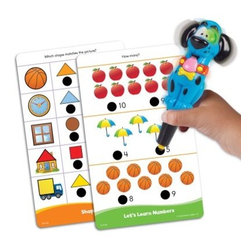 "Educational Insights Hot Dots Jr. Getting Ready For School - These self-checking electronic activity sets teach basic skills in a fun effective learning format. The Hot Dots Power Pen registers answers on the """"hot"""" and """"cold"""" dots on any of the illustrated lesson cards. Each set includes Hot Dots Power Pen and 80 colorful two-sided cards all packed in a durable travel-easy case. 160 lessons per set. Getting Ready For School Lesson cards feature early learning skills in five progressive categories that teach colors patterns shapes numbers letters and more. Getting Ready for School set focuses interactive skills for pre-school age children. Bright colors and characters make learning fun."