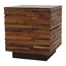 Marco Polo Imports - Parker Cube Side Table - This elegant side table combines the rustic charm of natural wood with contemporary designs, giving new life to salvaged wood. The wood inlay creates a hand-crafted, singular look, ensuring that each piece is truly unique.