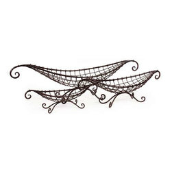 Wire Baskets - Set of 3 - Open metal gondola-shaped matching set of three baskets in graduated sizes