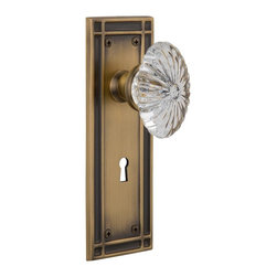 Nostalgic Warehouse - Nostalgic Mission Plate with Oval Fluted Crystal Knob and Keyhole, Antique Brass - The Mission plate in antique brass harkens to the Spanish Colonial period of the Western frontier, with an instantly recognizable square corner. Combined with our Oval Fluted Crystal Knob (24 individual hand-ground facets!), the look is elegant, but never fussy. All Nostalgic Warehouse knobs are mounted on a solid (not plated) forged brass base for durability and beauty.