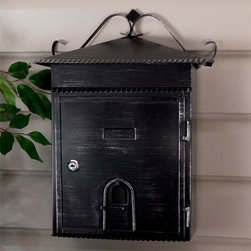 Rustico Wall-Mount Locking Mailbox - Aged Black Powder Coat - This steel mailbox is cleverly designed to look like a house, with decorative accents. It features an aged black powder coat finish and has a large capacity.