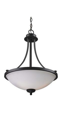 Z-Lite - Chambley 3-Light Pendant - Bulbs not included. Requires three 100 watt medium base bulbs. Circular base. Soft matte opal glass shade. Iron frame. UL certified for dry application. Oil rubbed bronze color. Chain: 72 in. L. Cord: 120 in. L. Overall: 16.88 in. Dia. x 23.25 in. H (4.2 lbs.)