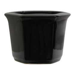Oriental Unlimited - 10 in. Wide Solid Black Porcelain Flower Pot - Distinctively decorated flower or planter pot. Beautiful planter pots with hole in the bottom for drainage. Strong, durable, fine quality Chinese high temperature fired porcelain. 10 in. W x 9 in. D x 7.5 in. H (5.5 lbs.)