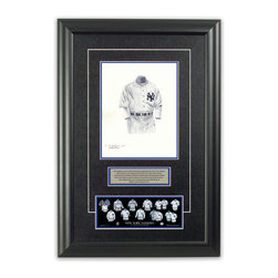 "Heritage Sports Art - Original art of the MLB 1912 New York Yankees uniform - This beautifully framed piece features an original piece of watercolor artwork glass-framed in an attractive two inch wide black resin frame with a double mat. The outer dimensions of the framed piece are approximately 17"" wide x 24.5"" high, although the exact size will vary according to the size of the original piece of art. At the core of the framed piece is the actual piece of original artwork as painted by the artist on textured 100% rag, water-marked watercolor paper. In many cases the original artwork has handwritten notes in pencil from the artist. Simply put, this is beautiful, one-of-a-kind artwork. The outer mat is a rich textured black acid-free mat with a decorative inset white v-groove, while the inner mat is a complimentary colored acid-free mat reflecting one of the team's primary colors. The image of this framed piece shows the mat color that we use (Medium Blue). Beneath the artwork is a silver plate with black text describing the original artwork. The text for this piece will read: This original, one-of-a-kind watercolor painting of the 1912 New York Highlanders (now New York Yankees) uniform is the original artwork that was used in the creation of this New York Yankees uniform evolution print and tens of thousands of other New York Yankees products that have been sold across North America. This original piece of art was painted by artist Bill Band for Maple Leaf Productions Ltd. Beneath the silver plate is a 3"" x 9"" reproduction of a well known, best-selling print that celebrates the history of the team. The print beautifully illustrates the chronological evolution of the team's uniform and shows you how the original art was used in the creation of this print. If you look closely, you will see that the print features the actual artwork being offered for sale. The piece is framed with an extremely high quality framing glass. We have used this glass style for many years with excellent results. We package every piece very carefully in a double layer of bubble wrap and a rigid double-wall cardboard package to avoid breakage at any point during the shipping process, but if damage does occur, we will gladly repair, replace or refund. Please note that all of our products come with a 90 day 100% satisfaction guarantee. Each framed piece also comes with a two page letter signed by Scott Sillcox describing the history behind the art. If there was an extra-special story about your piece of art, that story will be included in the letter. When you receive your framed piece, you should find the letter lightly attached to the front of the framed piece. If you have any questions, at any time, about the actual artwork or about any of the artist's handwritten notes on the artwork, I would love to tell you about them. After placing your order, please click the ""Contact Seller"" button to message me and I will tell you everything I can about your original piece of art. The artists and I spent well over ten years of our lives creating these pieces of original artwork, and in many cases there are stories I can tell you about your actual piece of artwork that might add an extra element of interest in your one-of-a-kind purchase."