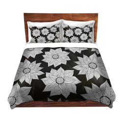 DiaNoche Designs - Duvet Cover Microfiber - Elegant Floral - DiaNoche Designs works with artists from around the world to bring unique, artistic products to decorate all aspects of your home.  Super lightweight and extremely soft Premium Microfiber Duvet Cover (only) in sizes Twin, Queen, King.  Shams NOT included.  This duvet is designed to wash upon arrival for maximum softness.   Each duvet starts by looming the fabric and cutting to the size ordered.  The Image is printed and your Duvet Cover is meticulously sewn together with ties in each corner and a hidden zip closure.  All in the USA!!  Poly microfiber top and underside.  Dye Sublimation printing permanently adheres the ink to the material for long life and durability.  Machine Washable cold with light detergent and dry on low.  Product may vary slightly from image.  Shams not included.