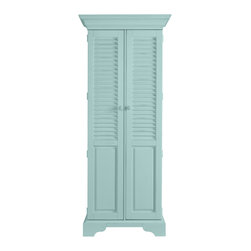 Stanley Furniture - Coastal Living Cottage Summerhouse Utility Cabinet - Down in the Low Country, hidden style like this is called a lagniappe - that something special you didn't quite expect. In our case, painted louvered doors reveal two adjustable storage shelves over four roomy tray drawers. Perfect for linens, CDs, spare silver or even cleaning products. Now that would be unexpected. Made to order in America.