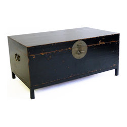 Gingko - Country Book Trunk, Large, Black - How about a stylish trunk show for your room? Inspired by traditional Chinese book trunks, the large box with hinged lid comes in your choice of distressed red or black, features aged brass hardware and sits on a simple black metal base.