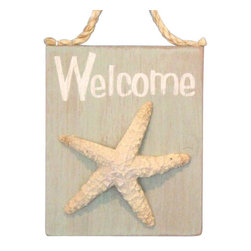 """Handcrafted Nautical Decor - Wooden Welcome Starfish Sign 6"""" - Wall Hanging Sign - This Wooden Welcome Starfish Sign 6"""" is a great addition to a beach themed home. Perfect for welcoming friends and family, or to advertise a festive party at your beach house, bar, or restaurant, this sign is sure to brighten your day. Place this beach sign up wherever you may choose, and enjoy its wonderful style and the delightful beach atmosphere it brings."""