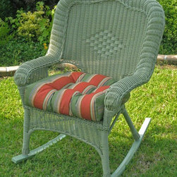 International Caravan - 29 in. Wicker Resin Outdoor Rocker - Set of 2 - Set of 2. Cushion not included. Premium and durable steel frame and a water resistant coating. Deep seated for added comfort. Equipped with UV light fading protection. Antique moss color. Minimal assembly required. 29 in. W x 28 in. D x 38 in. H (36 lbs.)Perfect addition to new garden or patio.