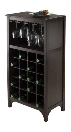"""Winsome Wood - Winsome Wood Ancona 20-Bottle Modular Wine Cabinet with Glass Hanger X-92729 - Add this compact Ancona Wine Modular unit to your home. Create a unique look with one unit or any combination of the three styles available.  This unit has glass hanger and holds 20 bottles of wine.  Overall assembled size is 19.009""""W x 12.60""""D x 37.52"""".  Glass hanger inside clearance is 16.73""""W x 11.06""""D x 8.62""""H.  Made with combination of solid and composite wood in Dark Espresso Finish.  Assembly Required."""