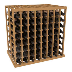 Double Deep Tasting Table Wine Rack Kit in Pine with Oak Stain - The quintessential wine cellar island; this wooden wine rack is a perfect way to create discrete wine storage in open floor space. With an emphasis on customization, install LEDs or add a culinary grade Butcher's Block top to create intimate wine tasting settings. We build this rack to our industry leading standards and your satisfaction is guaranteed.