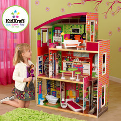 KidKraft - Designer Dollhouse - This designer dollhouse from KidKraft has a hip, modern look that young girls are sure to love. It features two curved staircases and 3 levels of open space, easily enough room for 2 or more children to play at once. Features: -Made of wood, pine, plastic. -Two curved staircases. -Three levels of open space. -Side windows let you view dolls from various views. -Large enough that multiple children can play at once. -Smart, sturdy construction. -Packaged with detailed, step - by - step assembly instructions. -Assembly required.