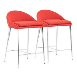 "Zuo - Set of 2 Zuo Reykjavik Tangerine Counter Chairs - Set of 2 modern transitional style counter height chairs. Tangerine orange fabric with a marvelous tooth.. Steel construction. Low rounded back. Chrome finish metal slender tapered legs. Includes a convenient and comfortable footrest. Versatile seating for a kitchen or home lounge. A beautiful addition to your home from Zuo Modern. Assembly required. 18"" wide. 18"" deep. 30 1/2"" high.  Set of 2 modern transitional style counter height chairs.  Tangerine orange fabric with a marvelous tooth..  Steel construction.  Low rounded back.  Chrome finish metal slender tapered legs.  Includes a convenient and comfortable footrest.  Versatile seating for a kitchen or home lounge.  A beautiful addition to your home from Zuo Modern.  Assembly required.  18"" wide.  18"" deep.  30 1/2"" high."